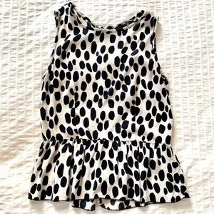 H&M Spotted Peplum Tank with zipper back - SM